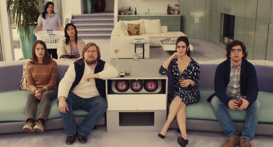 "This photo provided by Fox Searchlight Pictures shows, Lola Kirke, from left, as Tracy, Cindy Cheung as Karen, Michael Chernus as Dylan, Heather Lind as Mamie-Claire and Matthew Shear as Tony in a scene from ""Mistress America."" (Fox Searchlight Pictures via AP)"